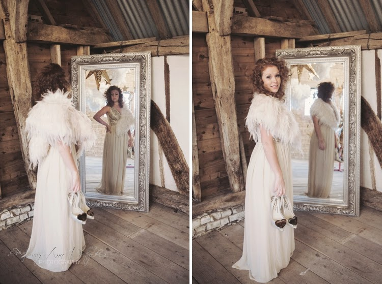 bride with biba cape and vivienne westwood shoes
