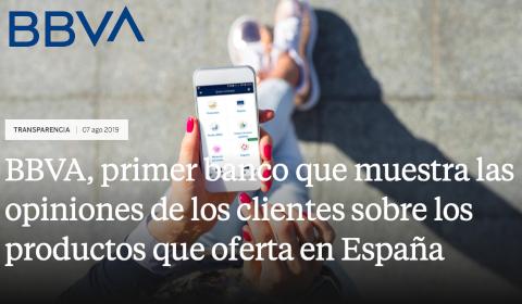 BBVA, primer banco que muestra las opiniones de los clientes sobre los productos que oferta en España