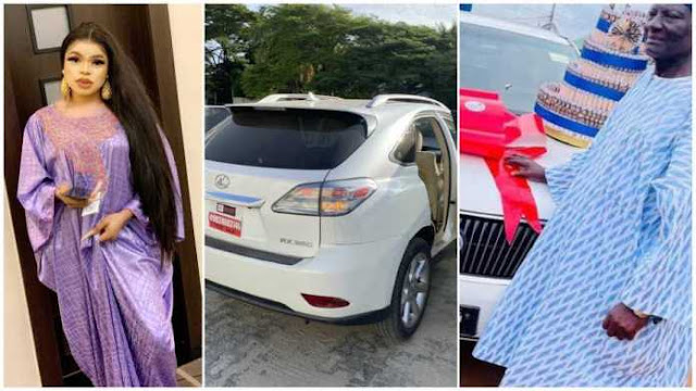 Bobrisky gifts his dad a Lexus SUV, cake, and money on his birthday (video)