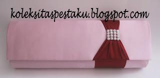 Tas Pesta Clutch Bag Satin Baby Pink Mix Maroon