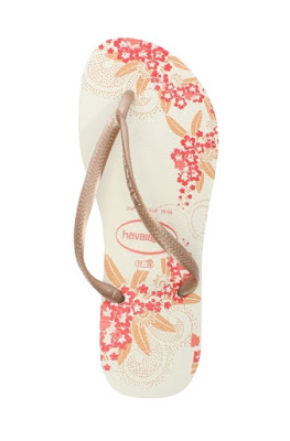 Havaianas slim organic gold metallic floral toe post flip flops