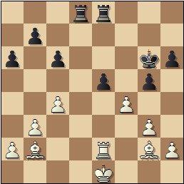 Partida de ajedrez Franco vs. Lladó, Campeonato de España de 1956, posición después de 33.exf4!