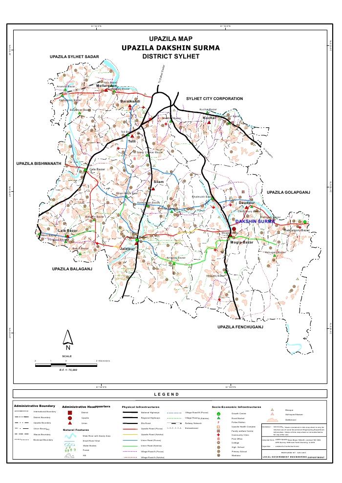 Dakshin Surma Upazila Map Sylhet District Bangladesh