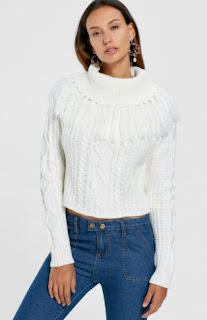 Turtleneck Cable Knit Tassel Sweater