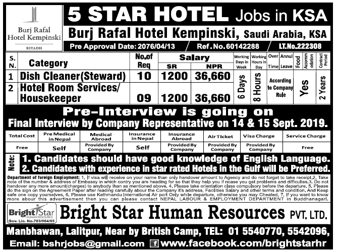 Jobs in 5 Star Hotel in Saudi Arabia for Nepali, Salary Rs 36,660