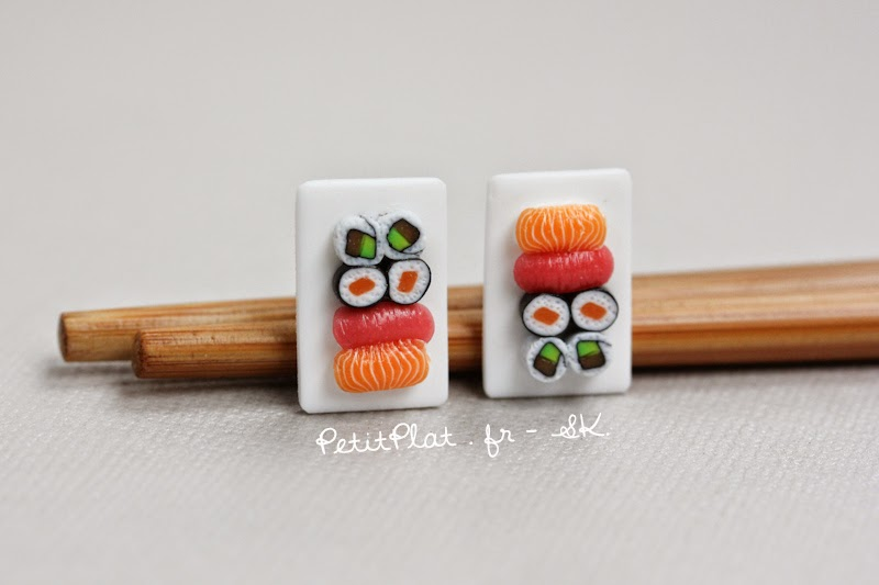 Miniature Sushi Earrings / Boucles d'Oreilles Sushi Miniatures - Stephanie Kilgast