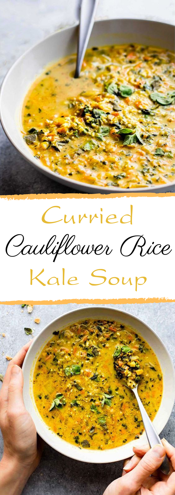 Curried Cauliflower Rice Kale Soup #soup #vegetarian