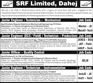 SRF Limited Recruitment ITI And Diploma Holders For Junior Engineer and Technician Position For  Dahej, Gujarat Location