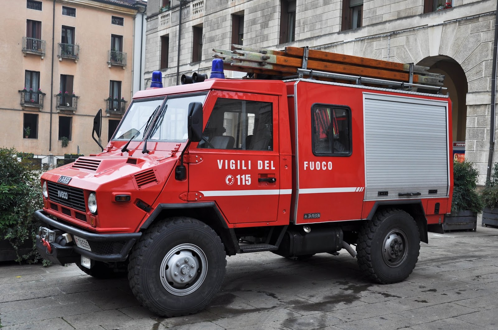 A fire engine, Piazza dei Signori, Saint Barbara celebration, Vicenza, Veneto, Italy