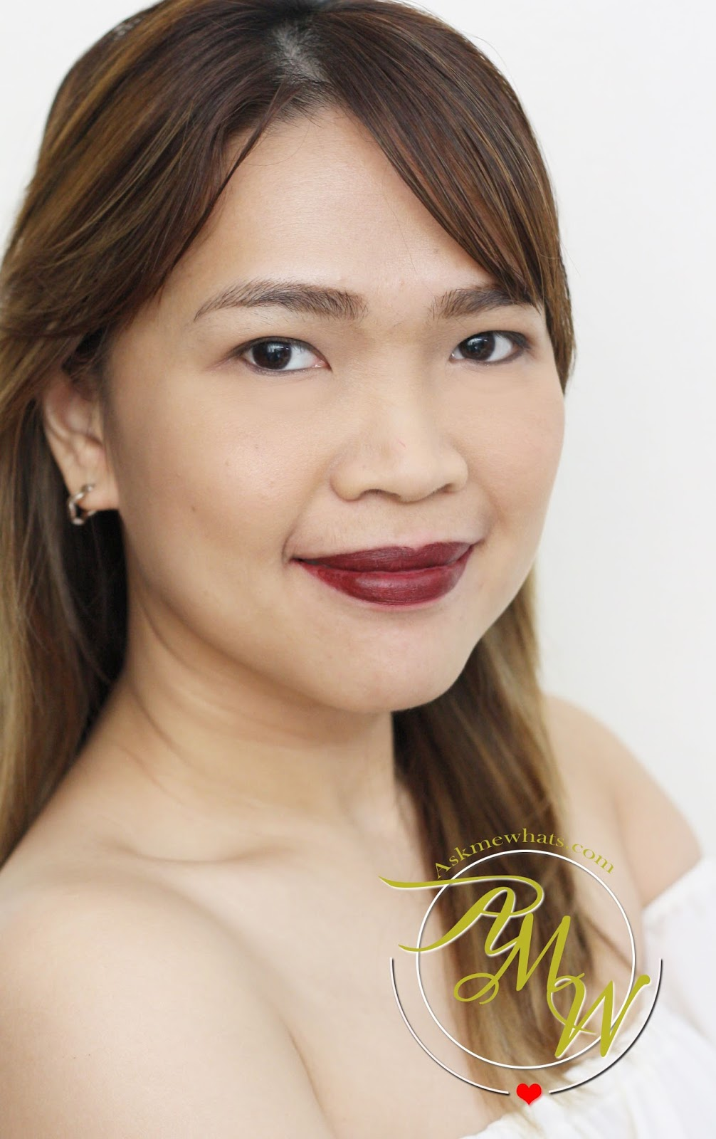 bbf9d40c6a9 a photo of Nikki Tiu AskMeWhats wearing Maybelline Creamy Matte Lipsticks  by Colorsensational Burgundy Blush.
