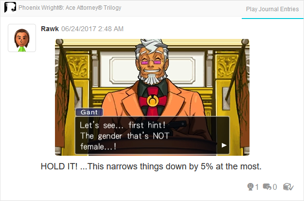 Damon Gant gender female Phoenix Wright Ace Attorney Trilogy 3DS Miiverse Capcom Nintendo