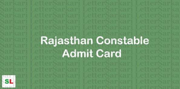 Rajasthan Constable Admit Card 2018