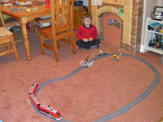 lego electric train track with level crossing and platform