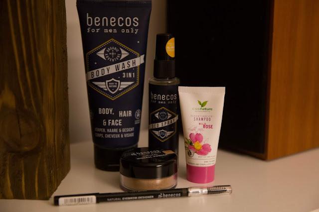 benecos, żel, dezodorant, kredka do brwi, puder, naturalne kosmetyki