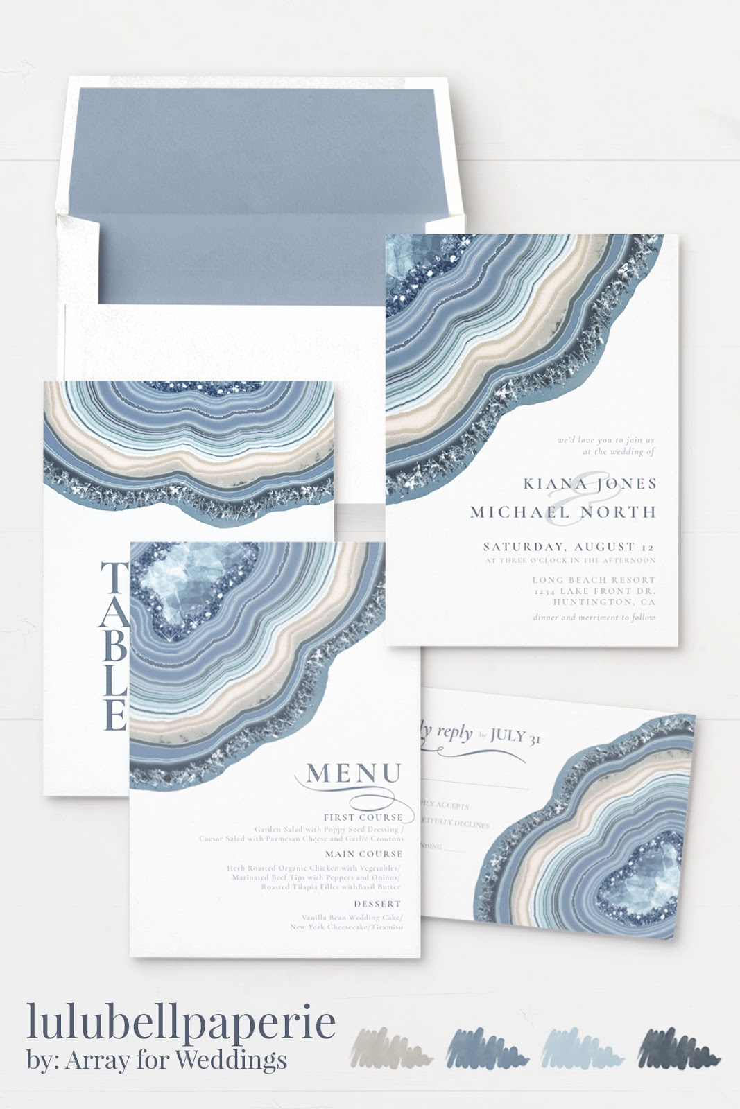 Dusty Blue Navy and Gray Agate Slice Wedding Invitation Suite
