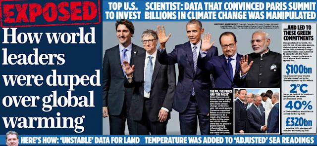 """Les données de la NOAA manipulées pour forcer l'adoption de l'Accord de Paris sur le climat ? Article du """"mail on sunday"""" attaquant la NOAA."""