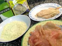 Ingredientes para preparar pollo rebozado con crema de champiñones