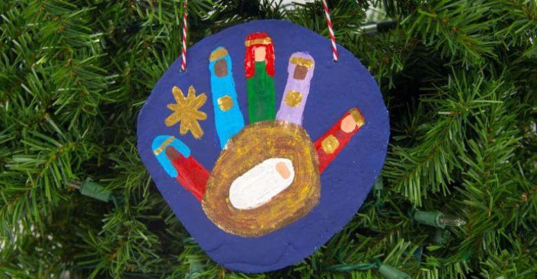 nativity salt dough handprints ornament