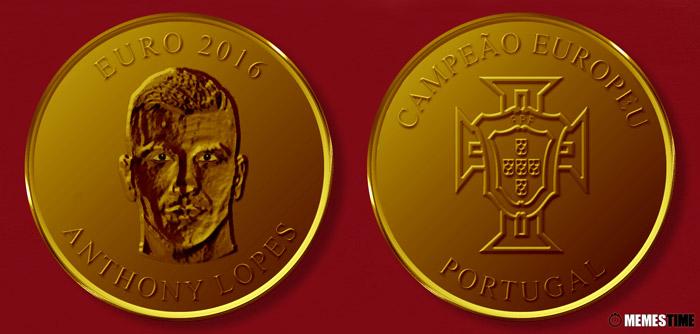 Meme com Medalha Comemorativa da Conquista do Euro 2016 pela Seleção Nacional de Portugal – Anthony Lopes.