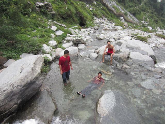 bath in waterfall