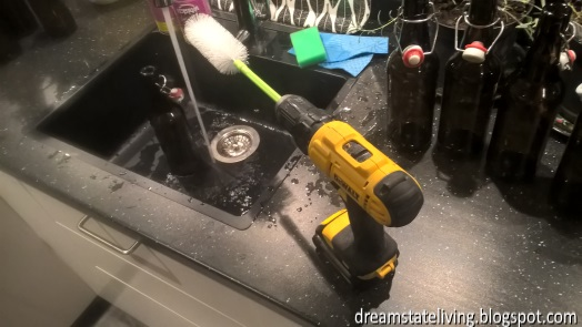 bottle cleaning with power screwdriver