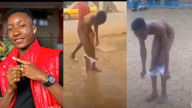Viral video of Cameroonian yahoo boy who run mad for not completing his sacrifice