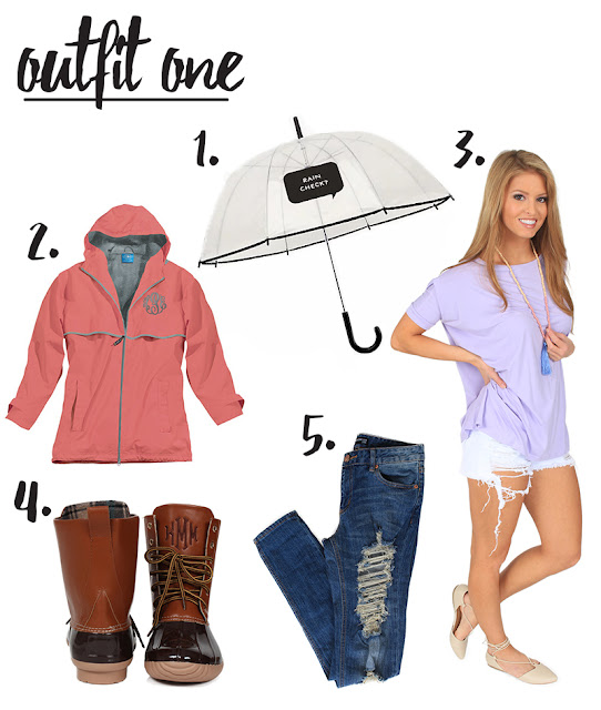 rain jacket with monogrammed jacket and duck boots
