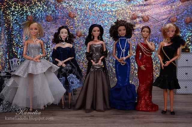Suknie wieczorowe dla lalek Barbie.