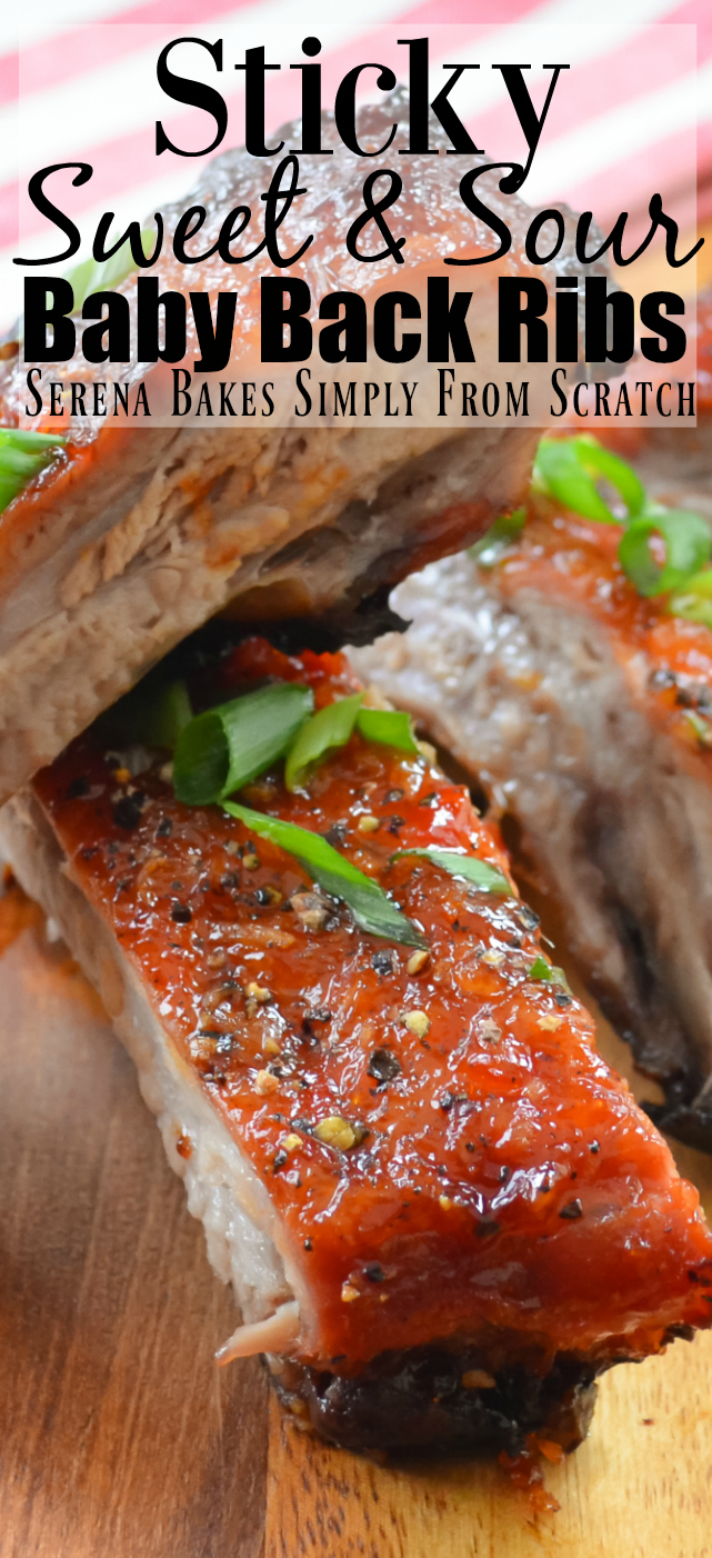 Sticky Sweet and Sour Baby Back ribs are perfect for your next game day party! They are sticky sweet finger licking good and easy to make!