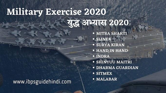 Important Military Exercise 2020 [युद्ध अभ्यास 2020]
