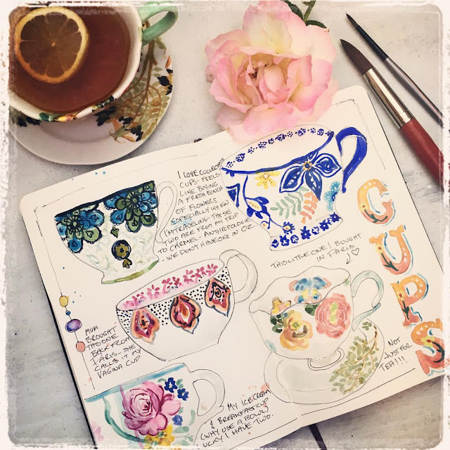 Sketchbook Challenge- Water colour Tea Cups