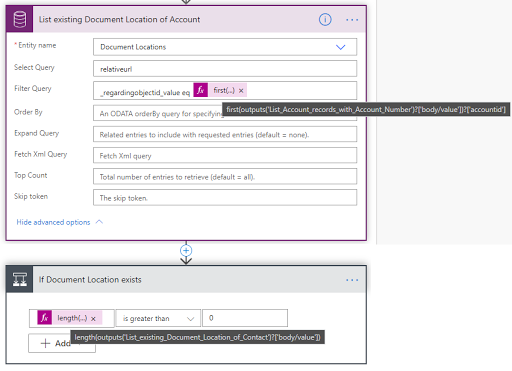 9. List existing Document Location of Account