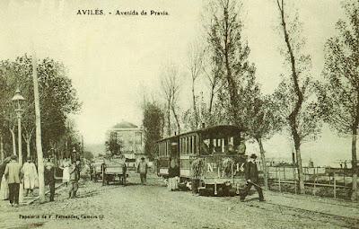 postal, Avilés, tranvía