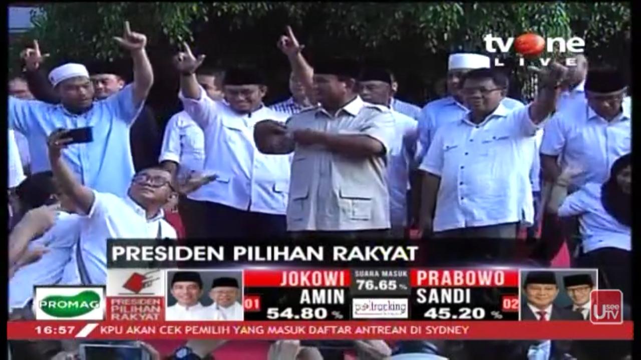 Soal Quick Count, Prabowo Ungkap Upaya Penggiringan Opini Lembaga Survei