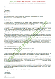 Sample Letter of Mandate to Operate Bank Account