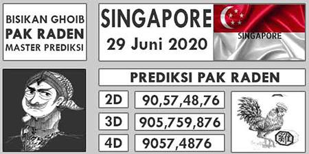 Prediksi Pak Raden SGP Senin 29 Juni 2020