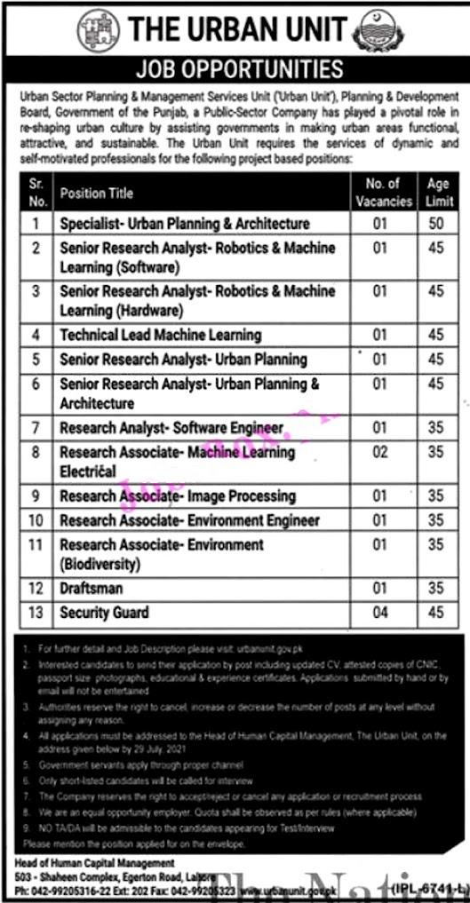 Latest Jobs in The Urban Unit Punjab 2021-Apply online