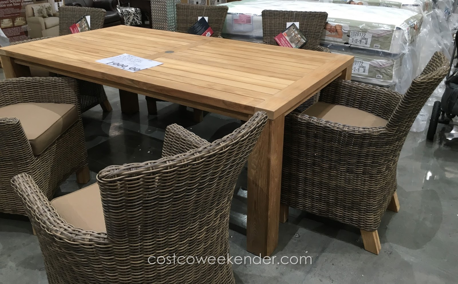 Sunbrella 7 Piece Teak Dining Set Costco Weekender
