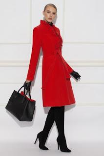 palton rosu elegant de iarna pana la genunchi