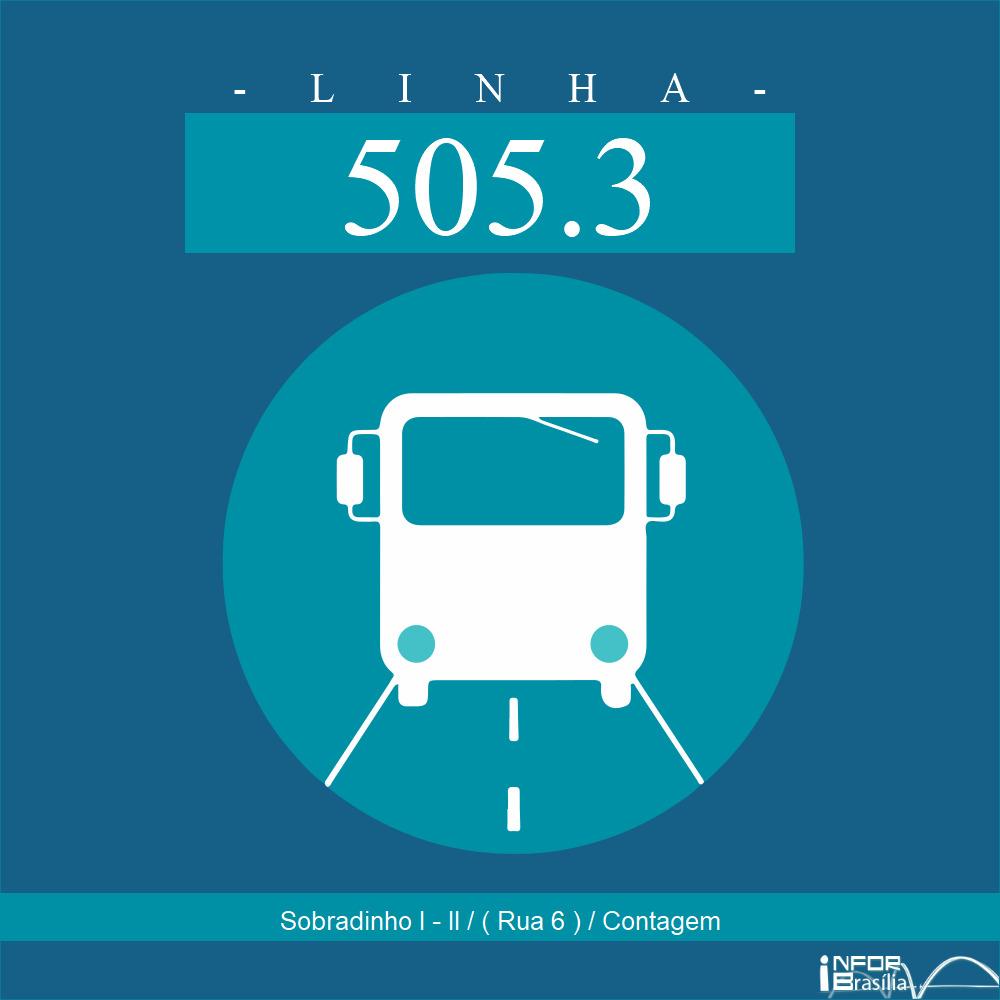 Horário de ônibus e itinerário 505.3 - Sobradinho I - II / ( Rua 6 ) / Contagem