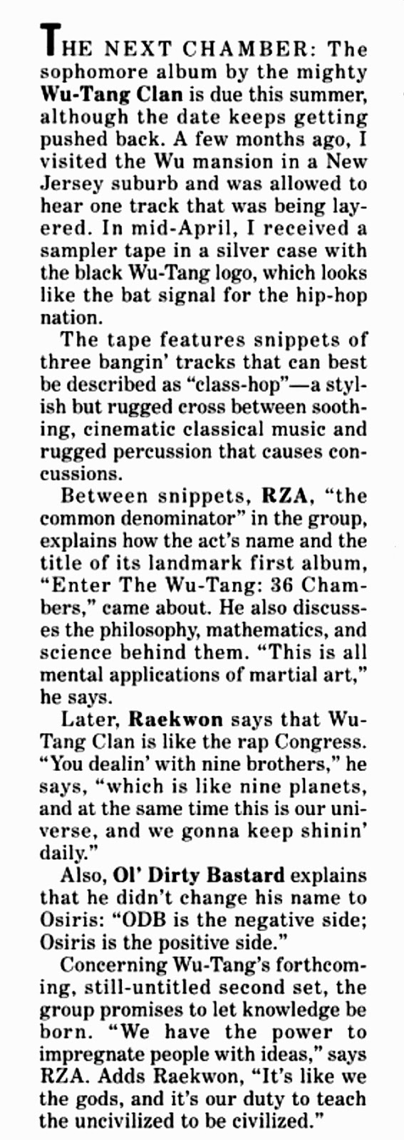 Wu-Tang Forever Wu-Tang Clan Billboard Magazine Snippet Tape 1997 May 3