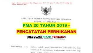 """<img src=""""https://1.bp.blogspot.com/-bjmB7Udt3UQ/XcKI21Kl0jI/AAAAAAAABjg/tLv45BkwNCEPVO7HVYNMCWC8gm-uN3ucwCEwYBhgL/s320/pma-nomor-20-tahun-2019-tentang-pencatatan-pernikahan.jpg"""" alt=""""PMA Nomor 20 Tahun 2019 tentang Pencatatan Pernikahan""""/>"""