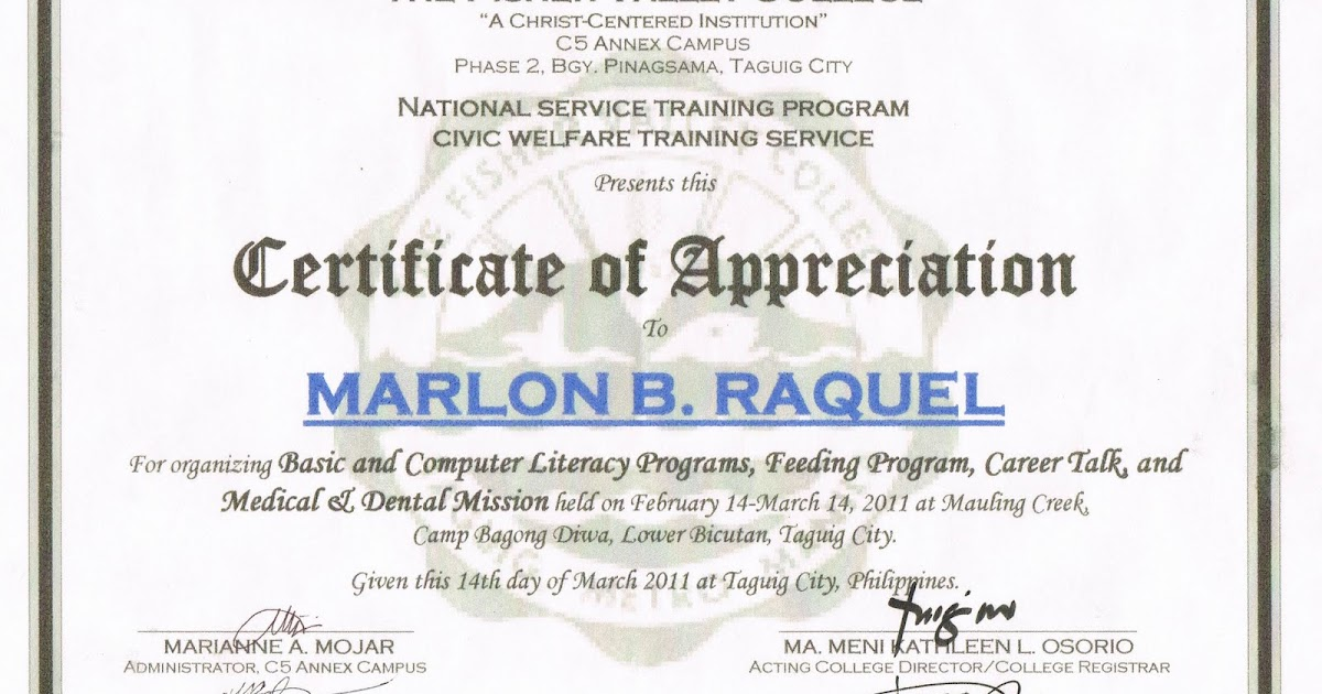 Tidbits and bytes example of certificate of appreciation tidbits and bytes example of certificate of appreciation organizer basic and computer literacy programs medical dental mission and feeding program yadclub Gallery