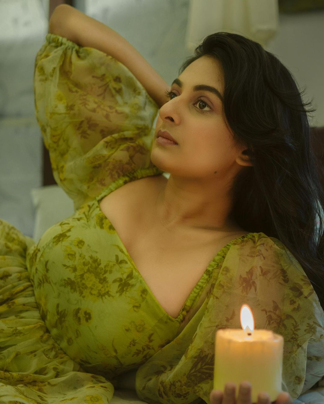 Esther Anil Latest Photoshoot, Esther Anil  green adress photoshoot, Esther Anil candle photoshoot, Esther Anil 2021 august