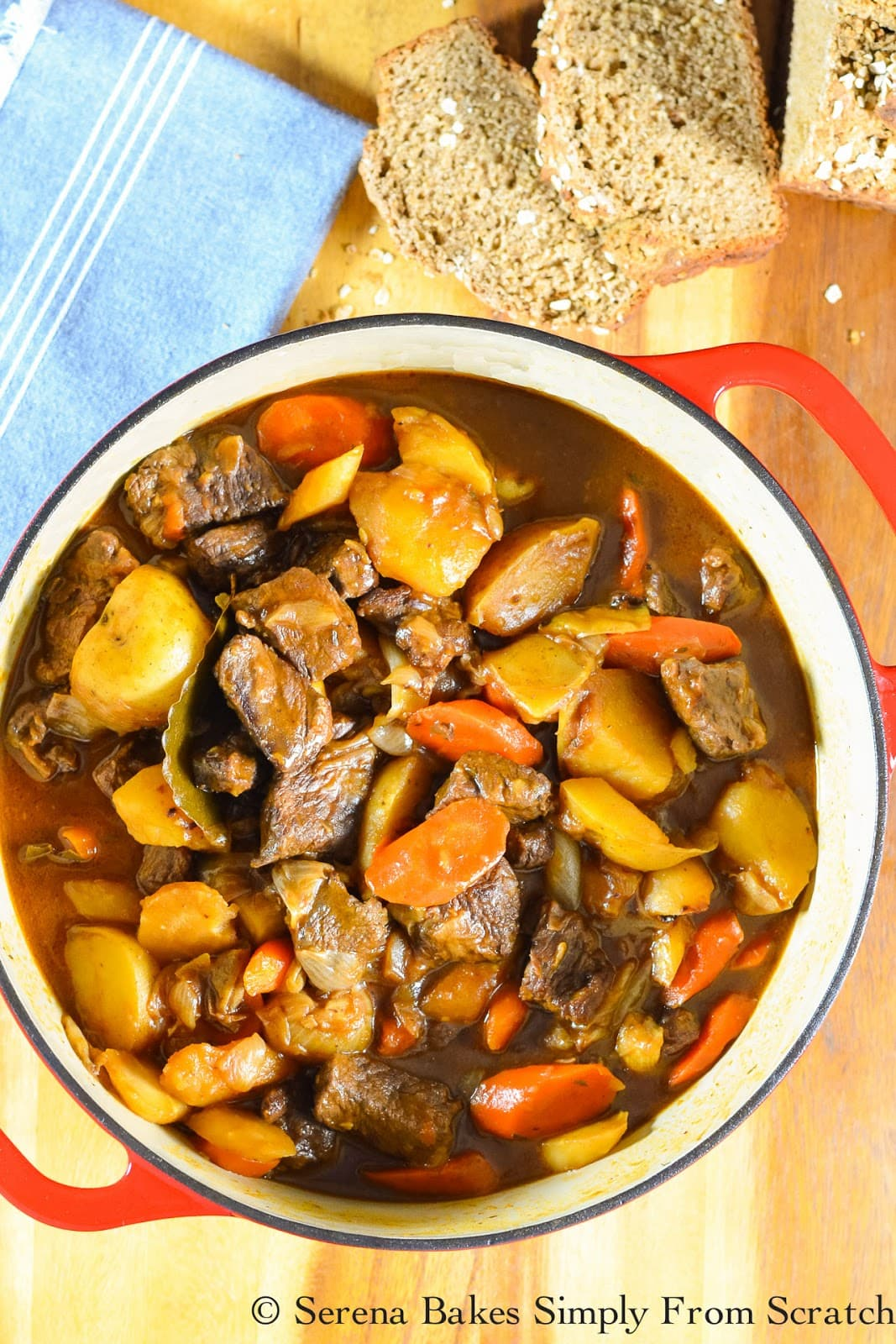 Guinness Beef Stew Recipe from scratch. A delicious hearty flavorful Irish Dinner perfect for St. Patricks Day from Serena Bakes Simply From Scratch.
