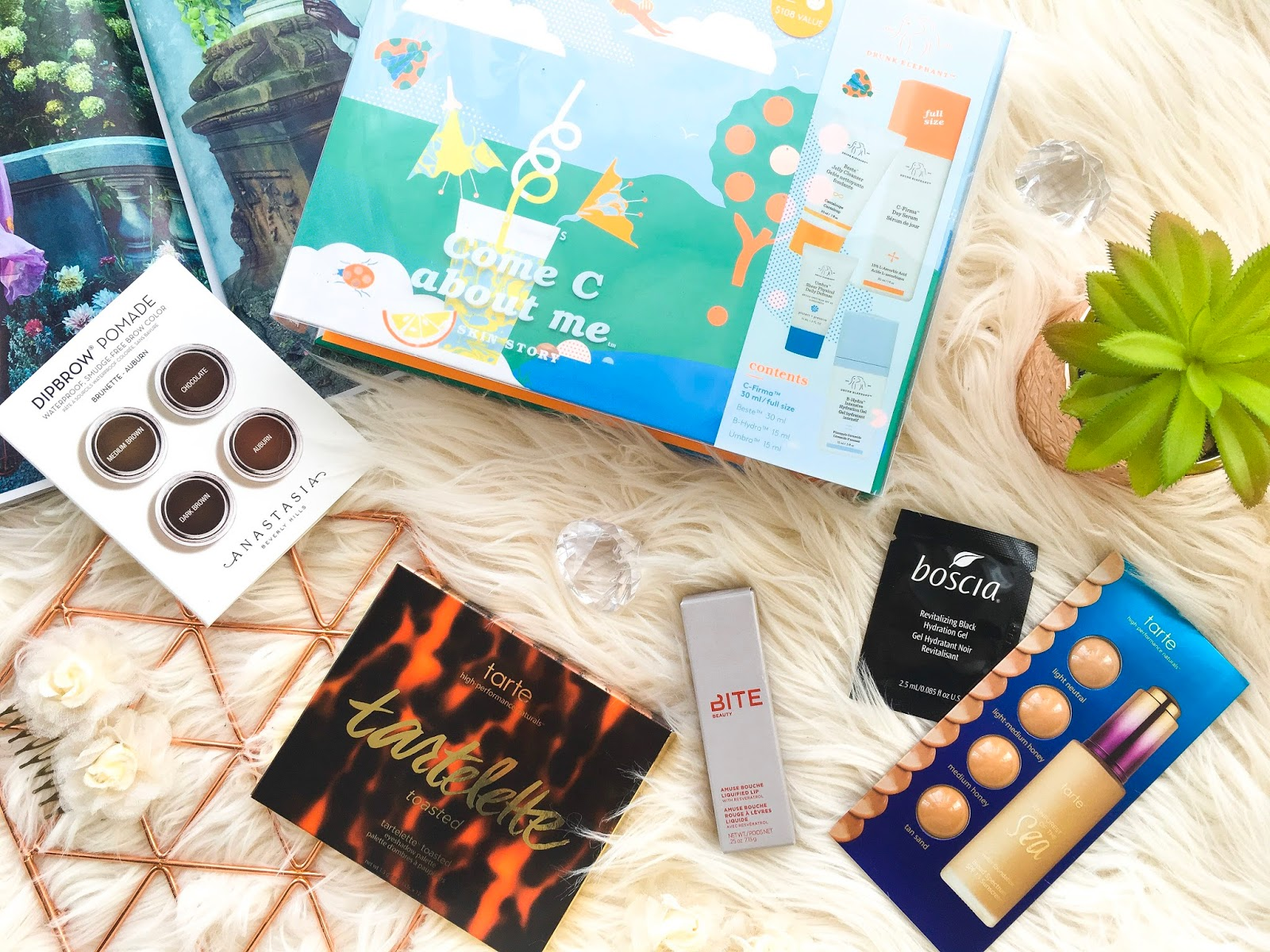 sephora haul uk, uk sephora haul, drunk elephant come c about me set, bite beauty amuse bouche chai lipstick, abh dipbrow pomade, tarte tartelette toasted palette, tarte rainforest of the sea foundation, boscia hydrating gel