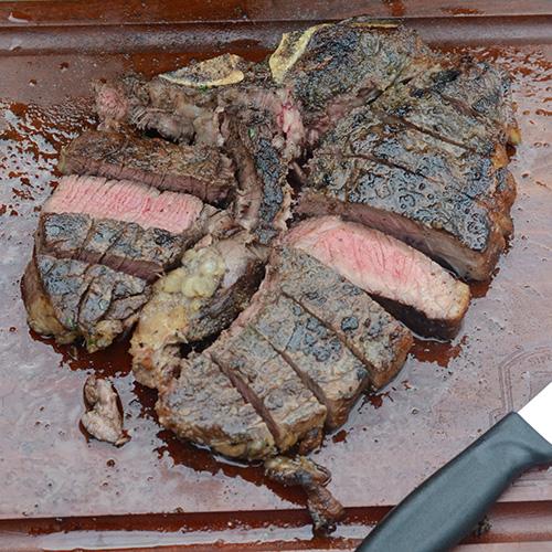 Green and Black Porterhouse Steak