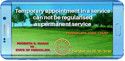 Temporary appointment in a service can not be regularised as permanent service