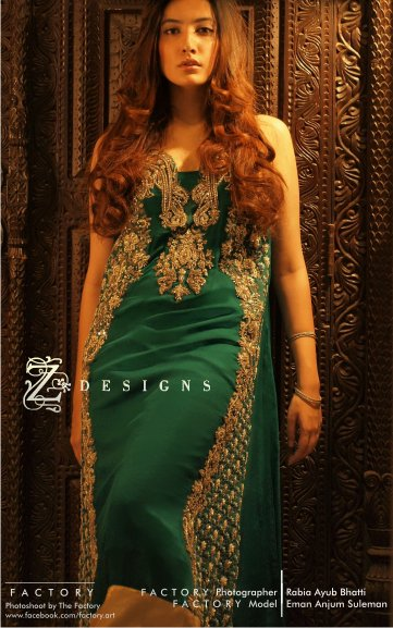 76f4e1009f Green Semi Formal Pakistani Dress With Golden Embroidery