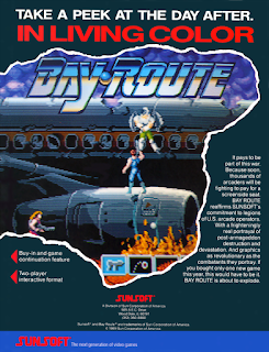 Bay Route+arcade+game+retro+portable+run & gun+art+flyer